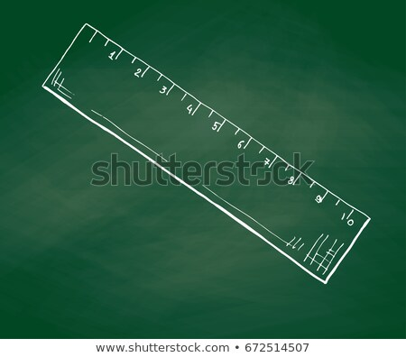 Hand drawn a ruler on a green school board. Vector illustration of a sketch style Stock photo © Arkadivna