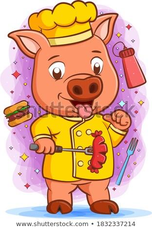 Cartoon Pig Chef Holding Burger Stock photo © Krisdog