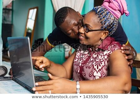 Férfi csók nő hegyorom jókedv kalap Stock fotó © IS2