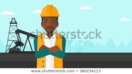 confident oil worker vector illustration stock photo © rastudio