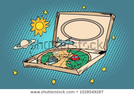 Podróży turystyki pizza planety Ziemi transportu komiks Zdjęcia stock © rogistok