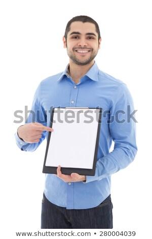 Szakállas arab üzletember tart fehér tábla vállalati Stock fotó © studioworkstock