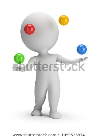 3d small people   throws balls stock photo © anatolym