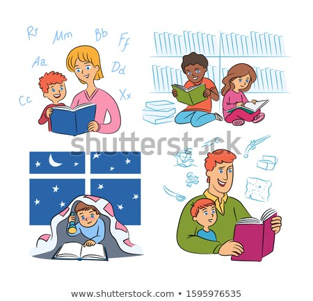 Read book under blanket with flashlight. Night reading. Vector i Stock photo © popaukropa