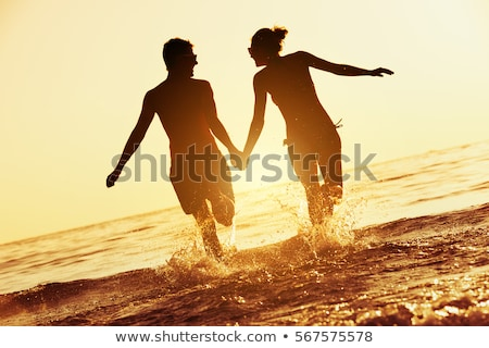 Cute paar strand huwelijksreis illustratie vrouw Stockfoto © bluering