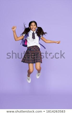 Porträt aufgeregt wenig Schülerin Rucksack halten Stock foto © deandrobot