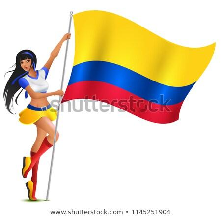 Stok fotoğraf: Güzel · genç · kadın · futbol · amigo · bayrak