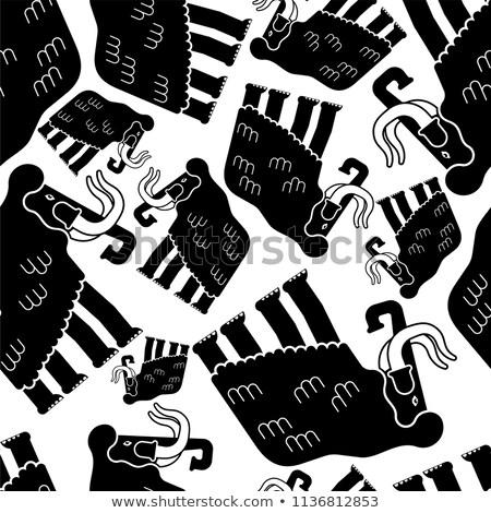 Tribal · patroon · tegel · geïsoleerd · zwarte - stockfoto © popaukropa