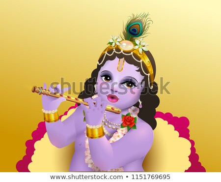 Krishna Janmashtami indian religious holiday God birthday. Blue boy playing flute Stock photo © orensila