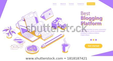 Commercial blogger isometric flat vector conceptual illustration. Stock photo © TarikVision