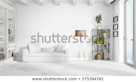 stylish interior in modern style with brick wall stock photo © bezikus