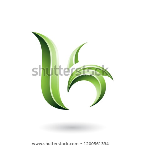 Green Glossy Leaf Shaped Letter B or K Vector Illustration Stock photo © cidepix