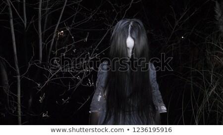 Menina floresta velho lanterna noite mulher Foto stock © MikhailMishchenko