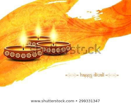 elegant diwali festival greeting card design with diya Stock photo © SArts