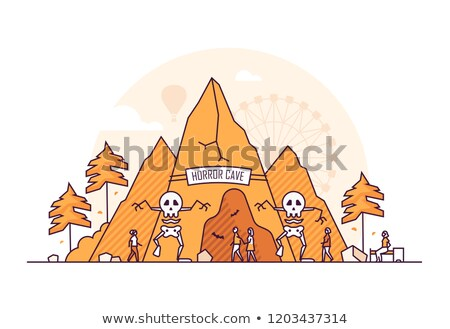 Horror cave - thin line design style vector illustration Stock photo © Decorwithme