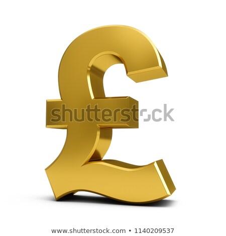 Gouden valuta symbool pond 3D 3d render Stockfoto © djmilic