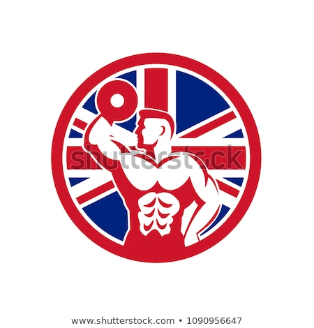 Britânico fitness ginásio union jack bandeira ícone Foto stock © patrimonio