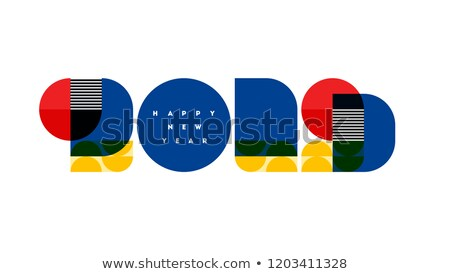 bauhaus style numbers 2019 and happy new year greetings isolated stock photo © ussr