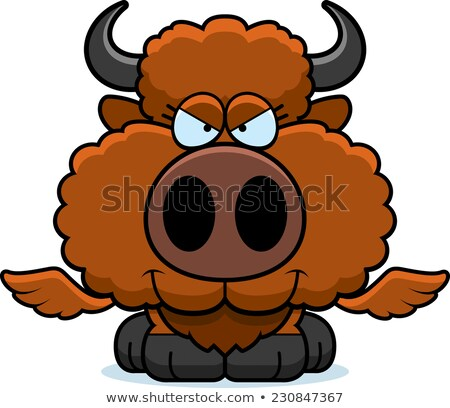 Cartoon sluw buffalo wings illustratie baby jonge Stockfoto © cthoman