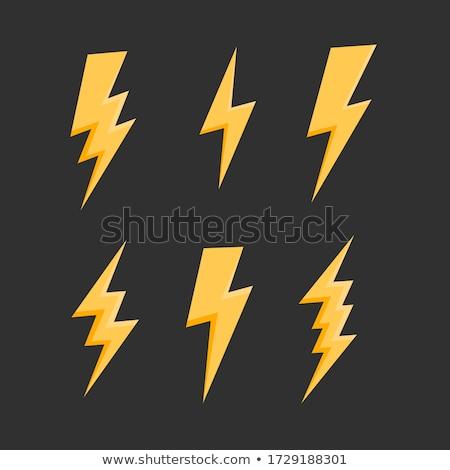 Sarı yıldırım vektör ayarlamak yalıtılmış siyah Stok fotoğraf © kyryloff