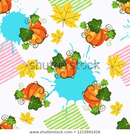 Stock photo: Seamless pattern witn pumpkin, paint splash and fall leaves