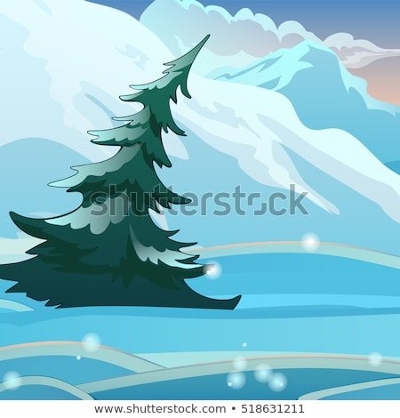 The single bent spruce on the background of snow on a clear frosty morning. Sketch for Christmas and Stock photo © Lady-Luck
