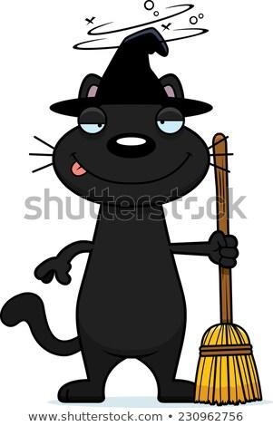 Bêbado desenho animado gato preto bruxa ilustração olhando Foto stock © cthoman