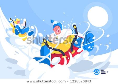 Boldog emberek élvezi henger lovaglás stílus rajz Stock fotó © jossdiim