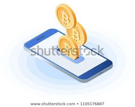 Mobile Phone Bitcoin Coins Concept Stock photo © Krisdog