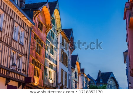 Old architecture of Troyes at night Stock photo © benkrut