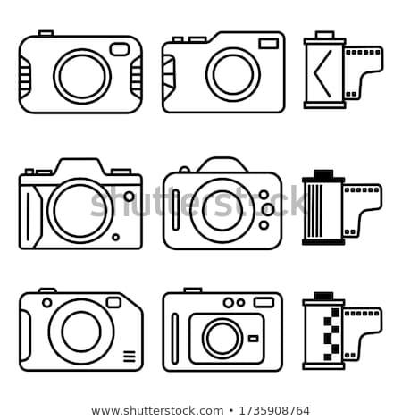 Kompakt digitális fényképezőgép izolált fehér nő lány Stock fotó © karandaev