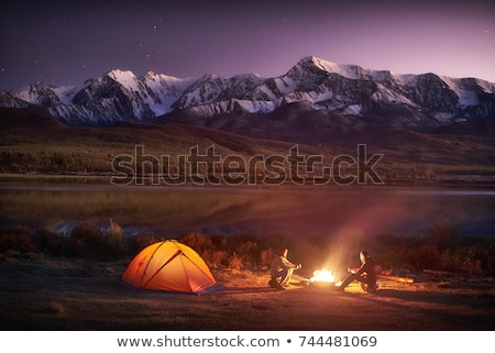 caldeirão · fogo · cozinhar · montanhas · céu · comida - foto stock © kotenko