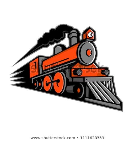 Gőzmozdony száguld kabala ikon illusztráció klasszikus Stock fotó © patrimonio