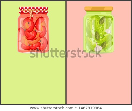Conservado comida cartaz pimenta pepinos vermelho Foto stock © robuart