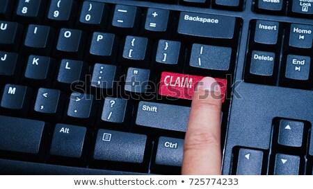 assurance · bleu · clavier · bouton · doigt · poussant - photo stock © vinnstock