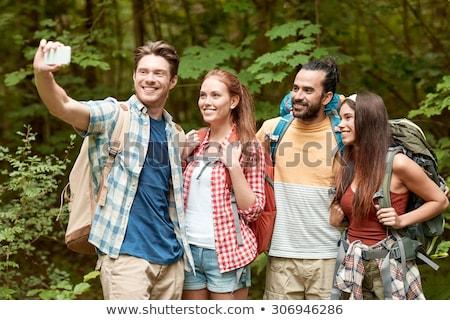 feliz · casal · auto-retrato · caminhadas · foto - foto stock © dolgachov