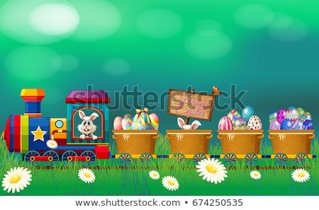 cartoon · trein · locomotief · illustratie · cute · kleurrijk - stockfoto © colematt