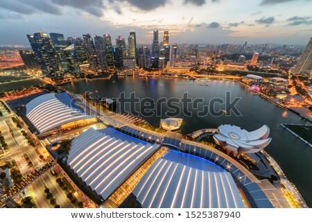 Gorgeous Singapore Skyline buildings with illuminations on sunse Stock photo © Taiga