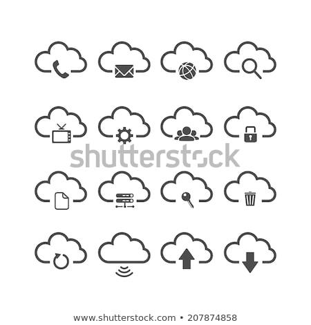 Downloaden icon witte wereldbol technologie teken Stockfoto © smoki