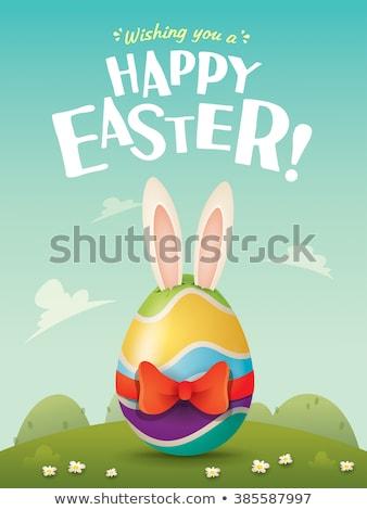 Paskalya · şeytani · easter · bunny · boyalı · yumurta · gökyüzü - stok fotoğraf © krisdog