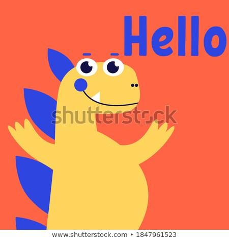 Poster design with dinosaur saying hello Stock photo © colematt