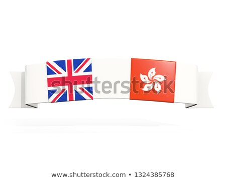 Banner with two square flags of United Kingdom and hong kong Stock photo © MikhailMishchenko