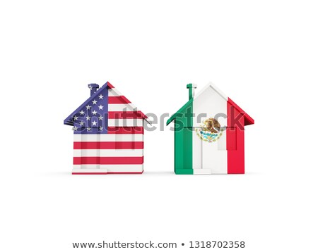 two houses with flags of united states and mexico stock photo © mikhailmishchenko