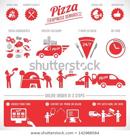ayarlamak · vektör · bağbozumu · pizza · etiketler · soyut - stok fotoğraf © netkov1