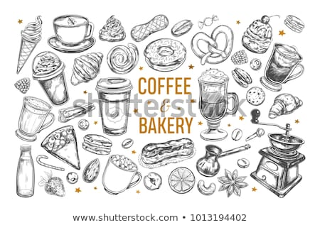 Take Away Coffee or Tea Cup and Donut Icon Set Stock photo © robuart