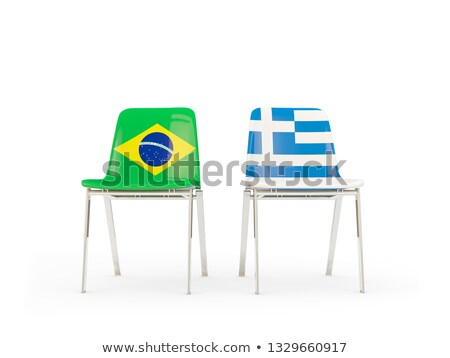 Two chairs with flags of Brazil and greece Stock photo © MikhailMishchenko