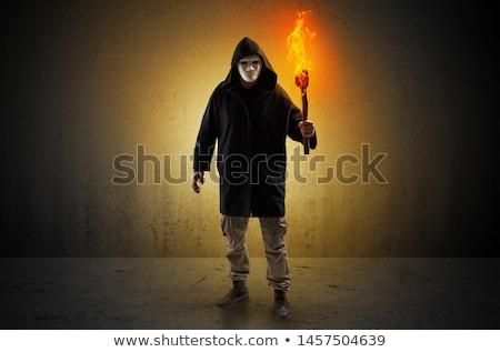 Férfi sétál üres hely égő csúnya ijesztő Stock fotó © ra2studio