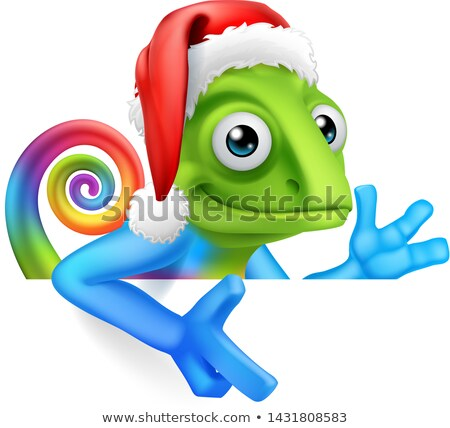 Chameleon Cartoon Peeking Around Sign Pointing Stock photo © Krisdog