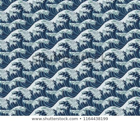 japán · ritmikus · hullámok · minta · végtelenített · kimonó - stock fotó © krisdog
