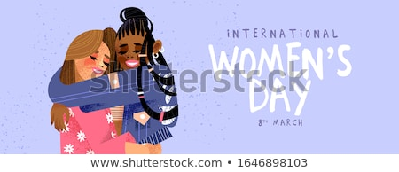 Womens Day 8th March web banner of girl friends Stock photo © cienpies